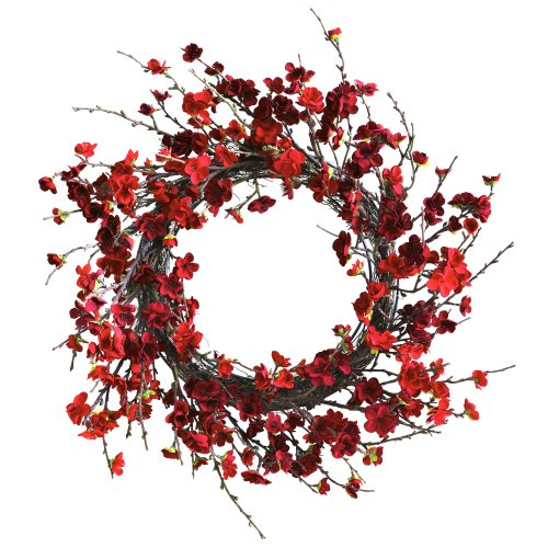 - Nearly Natural 4813 Plum Blossom Wreath, 24-Inch, Red