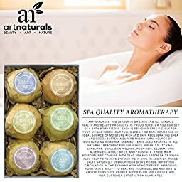 ArtNaturals Bath Bombs Gift Set - Ultra Lush Essential Oil - Handmade Spa Bomb Fizzies - Organic and Natural Ingredients, Shea Butter for Moisturizing Dry Skin Relaxation in a Box, 4.1 oz., 6 Count
