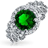Bling Jewelry Green Pave Cut CZ Engagement Ring Rhodium Plated