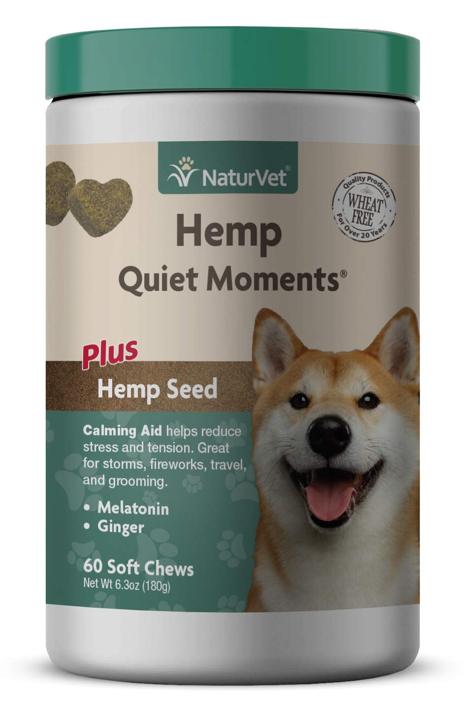 NaturVet Quiet Moments Hemp Soft Chews 60 Count (Jar) for Dogs
