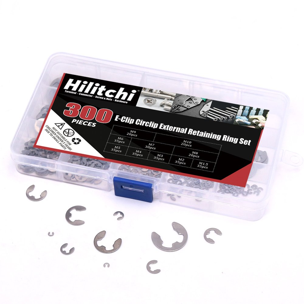 Hilitchi 300-Pcs 304 Stainless Steel E-Clip Circlip External Retaining Ring Assortment Set