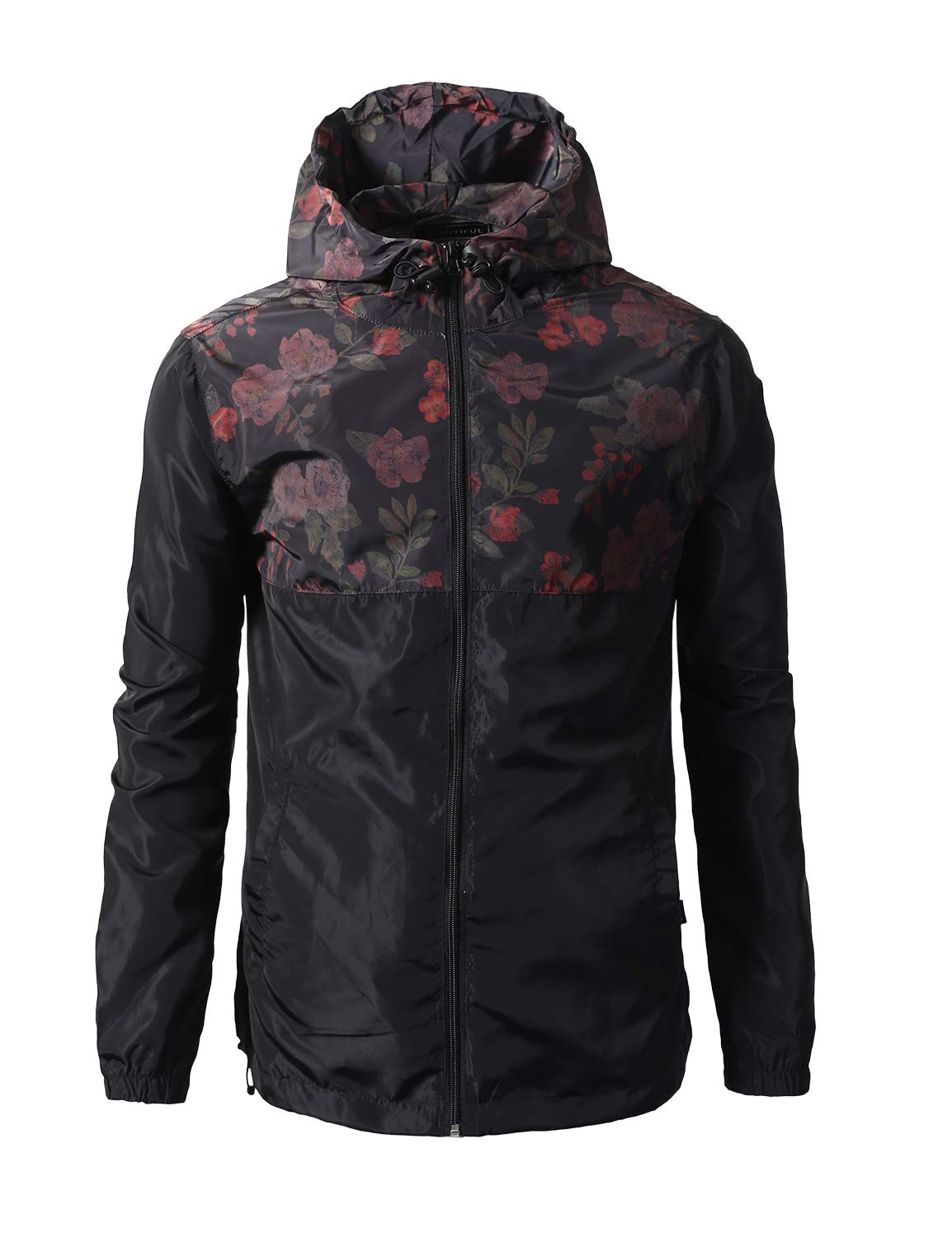 URBANCREWS Mens Hipster Floral Color Block Full Zip-Up Light Weight Windbreaker Jacket - Black - S by URBANCREWS