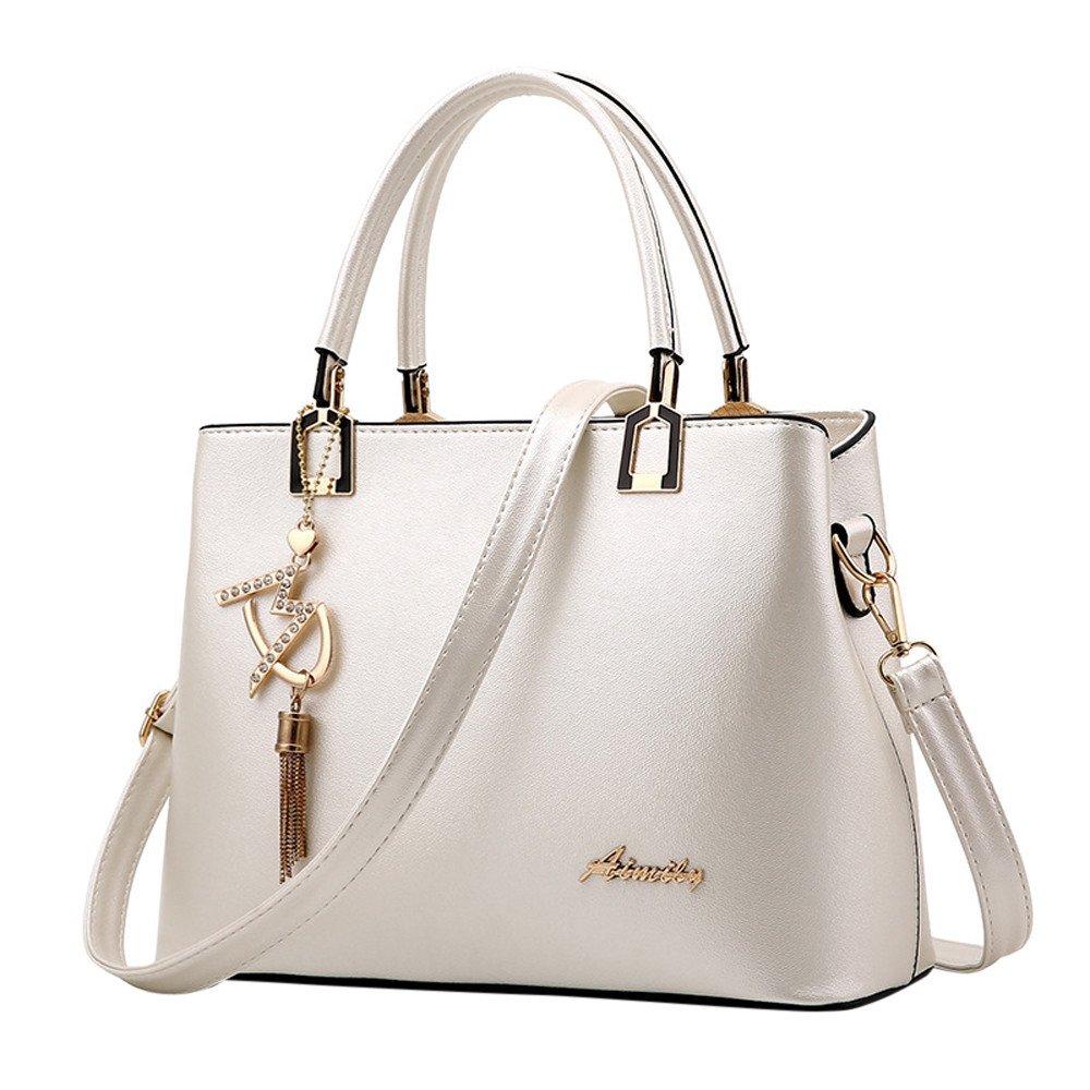 Amazon.com: Ladies Leather Tote Purses Handbags, Women Top Handle Bag Tassel Shoulder Crossbody Bags: BingYELH