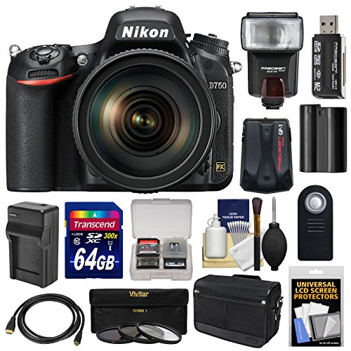 Nikon D750 Digital SLR Camera & 24-120mm f/4 VR Lens with 64GB Card + Battery & Charger + Messenger Bag + GPS Unit + Filters + Flash + Kit ()