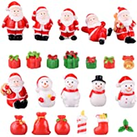 Amosfun 23 peças de enfeite em miniatura de Natal em resina com boneco de Papai Noel, boneco de neve, fada, jardim…
