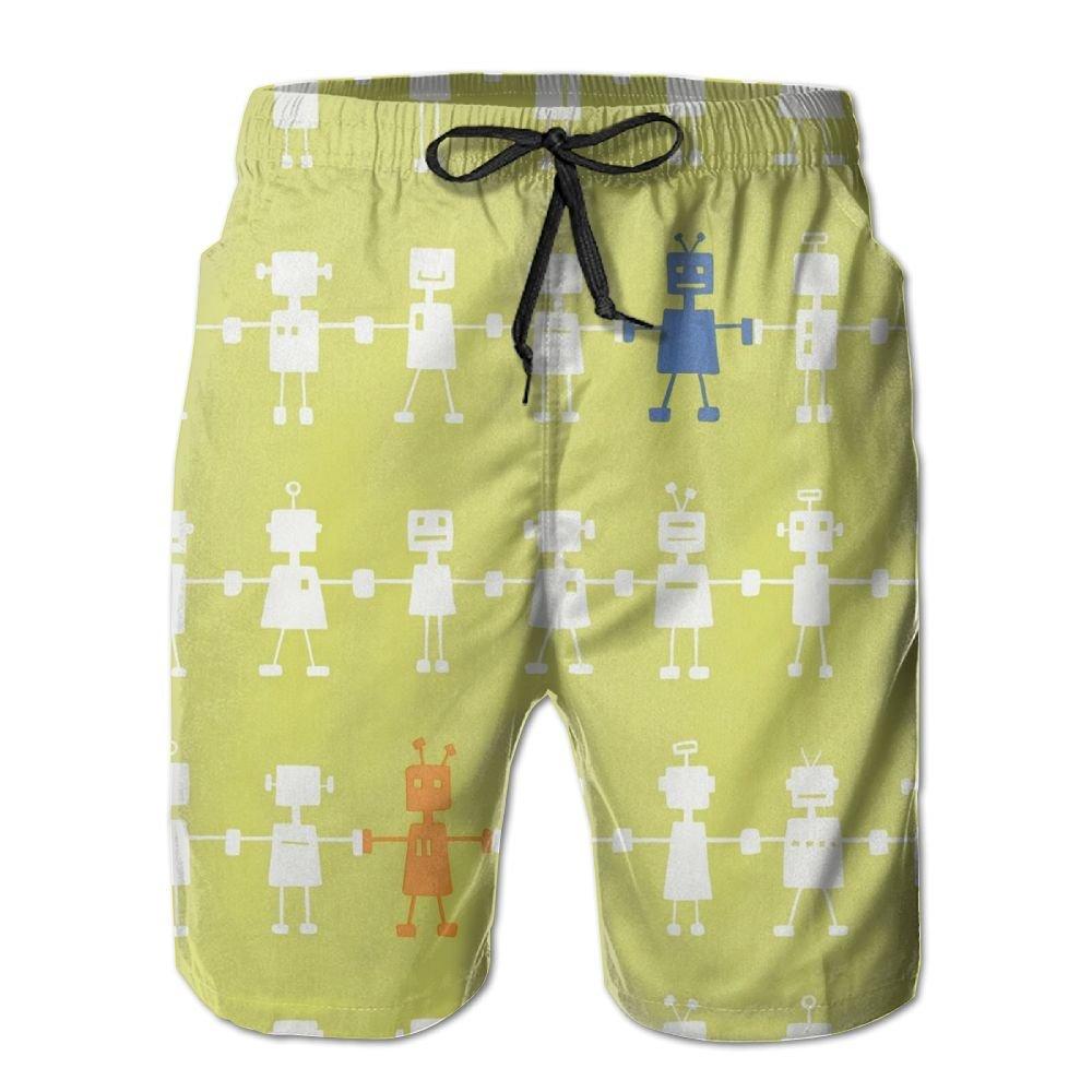 Horizon-t Beach Shorts Robot Mens Fashion Quick Dry Beach Shorts Cool Casual Beach Shorts