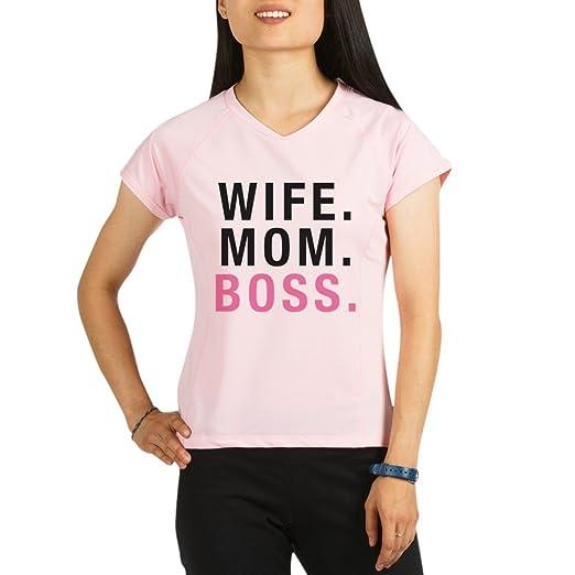 26ddd3653 Amazon.com: CafePress Wife Mom Boss - Womens Athletic T-Shirt, Performance  Dry Shirt: Clothing