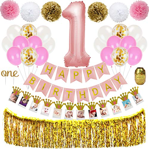1st Birthday Girl Decorations - Baby Girl First Birthday Party Supplies with Happy Birthday Banner, Large 1 Balloon, One' Cake Topper, Latex Balloons, Photo Prop, Fringe Curtain TD041