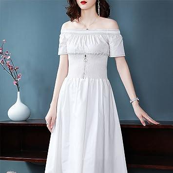 SBL Vestido de un Hombro en Color Liso Que Adelgaza la Cintura de Verano,Blanco