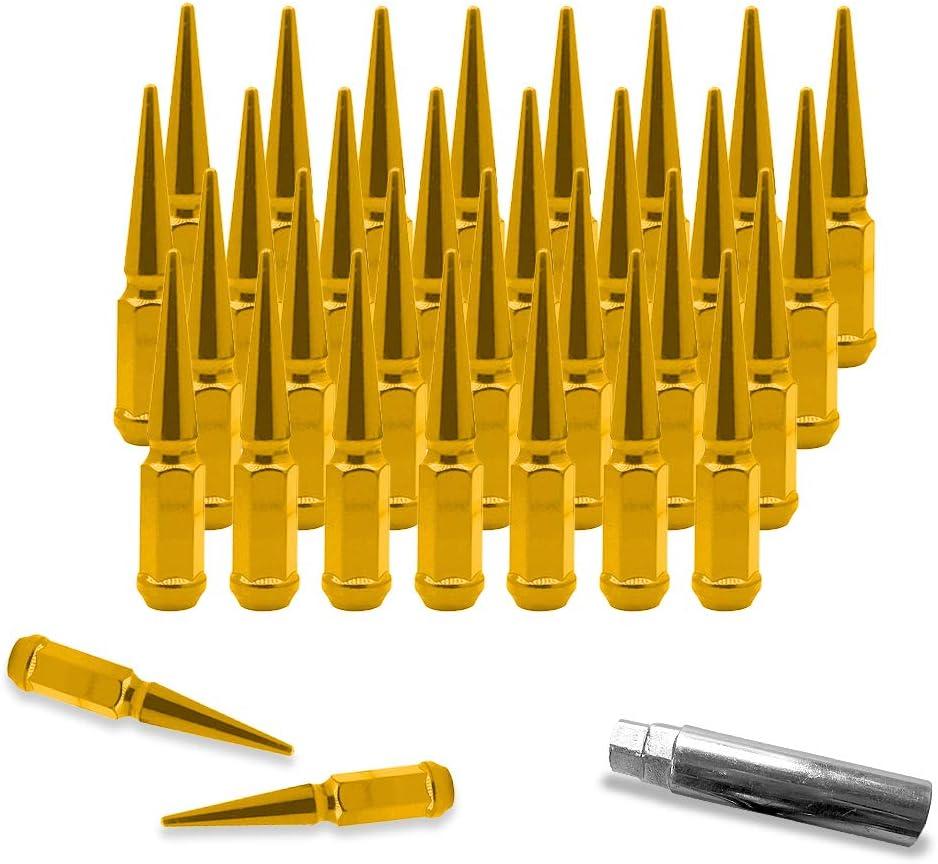 CA Supplies 32 pcs 9//16-18 112mm 4.4 Wheel Car Spike Lug Nuts Chrome Conical w//Key