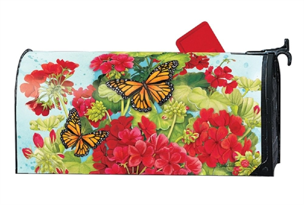 MailWraps Studio M Mailbox Cover Red Greaniums