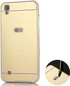 Funda Espejo Aluminio Metal Carcasa para LG X Power K220 Color Oro ...