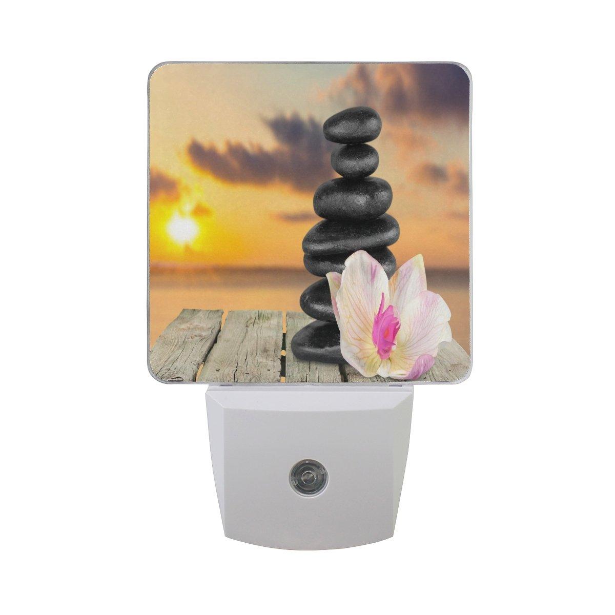 ALAZA Spa Floral Zen Stone Sunset Wooden LED Night Light Dusk to Dawn Sensor Plug in Night Home Decor Desk Lamp for Adult