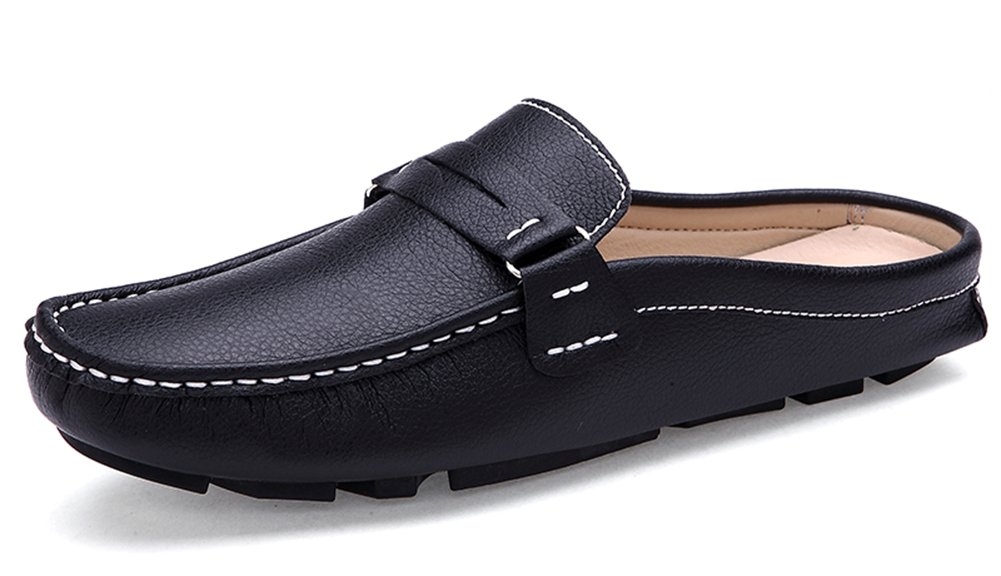 Aisun Men's Comfort Casual Round Toe Slippers Slip On Mules and Clogs Flats Slides Loafers Driving Shoes (Black, 10 D(M) US)