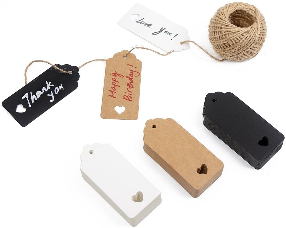 150ct Kraft Gift Tags Labels with String (3 Colors)