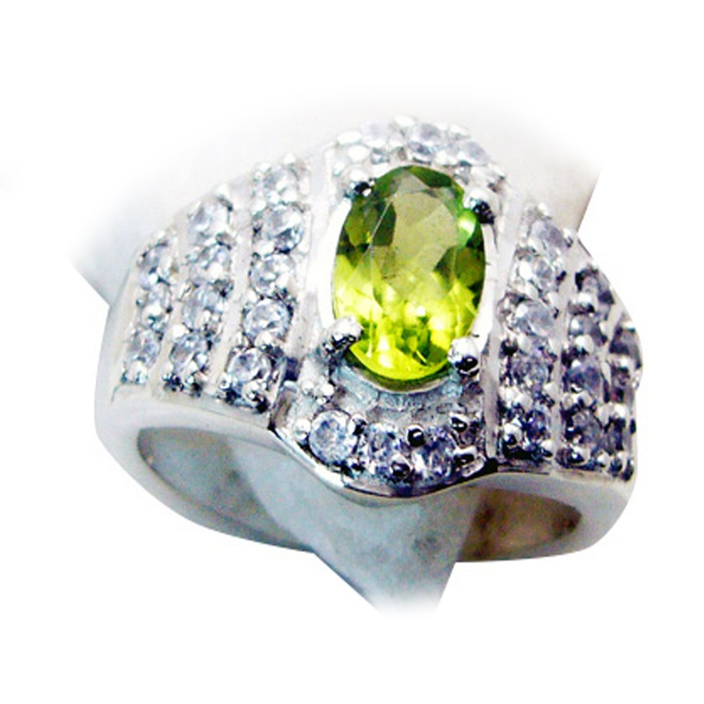 55Carat Natural Peridot Ring Green Gemstone Cluster Style Birthstone Handmade Size 4,5,6,7,8,9,10,11,12 by 55Carat