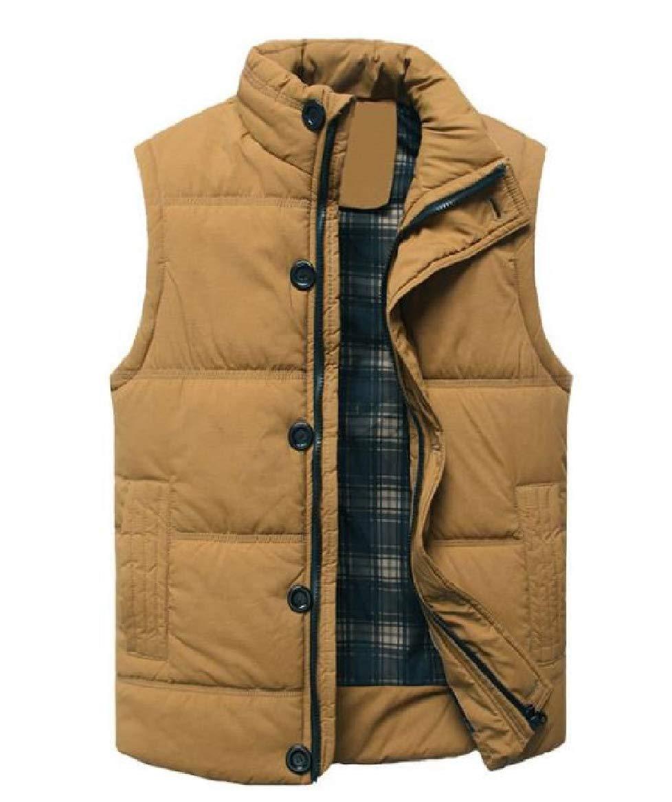 Sayah Mens Cardi Stand Collar Full-zip Vests Spring/Fall Parka Jacket Outwear