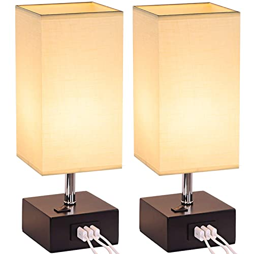 USB Table Lamp, Dreamholder Bedside Desk Lamp with 3 USB Charging Ports, Wooden Base Nightstand Lamp with Cream Fabric Shade, Perfect Lamps for Bedroom, Living Room, Office Pack of 2