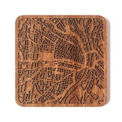St. Louis, MO Map Coaster by O3 Design Studio, One piece, Sapele Wooden Coaster with city map, Multiple city optional, Handmade