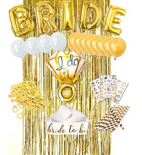 Bachelorette Party Decorations Set Gold Bridal Shower Wedding Party Set Bridal Tattoos | Ring & Bride foil, Pearl & Gold Latex Balloons, Bride to be Sash, Fringe Curtain, Straw | Engagement Party