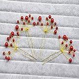 Venusvi Bridal Wedding Red Pearl Hair Pin Hair Accessories(Pack of five)