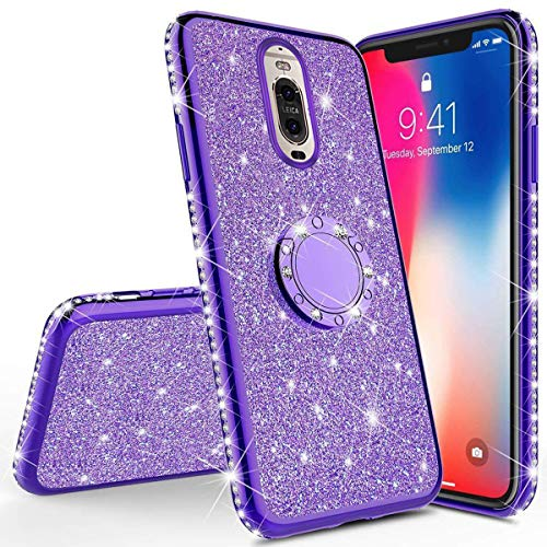 PHEZEN Compatible with Huawei Mate 20 Lite Case,Bling Glitter Sparkle Crystal Diamond Rhinestone Bumper TPU Rubber Silicone Cover Phone Case with Ring Kickstand for Huawei Mate 20 Lite,Purple