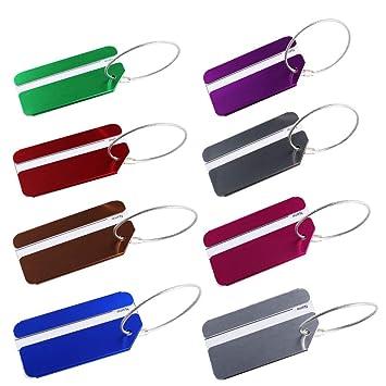 HO2NLE 8Pcs Etiquetas para Equipaje de Viaje, 8 Colores Equipaje Etiqueta Aluminio Identificador de Maletas para Maleta de Viaje Mochila Mochila Escolar 8 ...