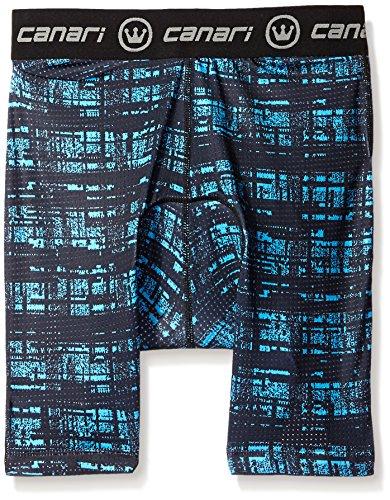 Canari Men's Crazy Echelon Liner Shorts, Blue Hatch, Large