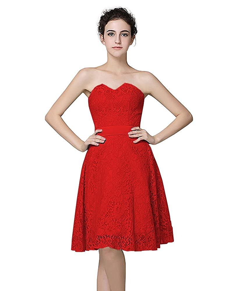 7b32592f36d3 Women's Sweetheart Lace A Line Knee Length Bridesmaid Dress at Amazon  Women's Clothing store: