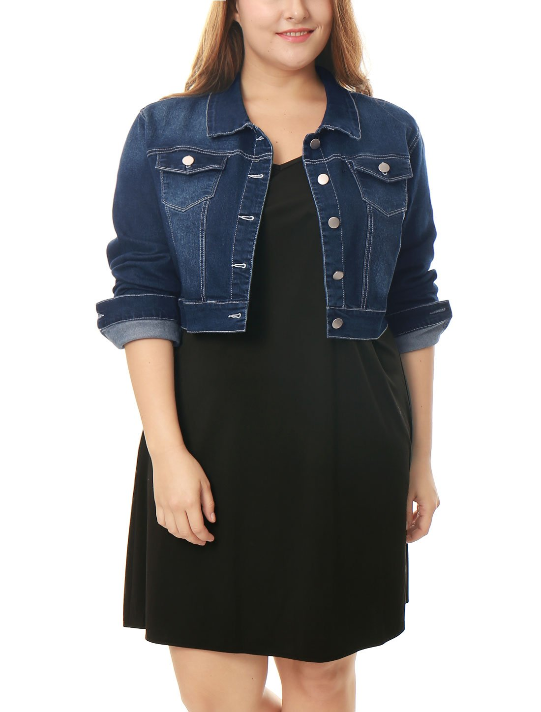 uxcell Women's Plus Size Button Closed Cropped Denim Jacket 2X Dark Blue