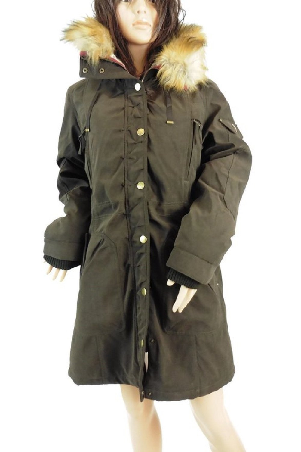 1 Madison Womens Heritage Collection Winter Jacket with Fur Hood, Dark Olive, L