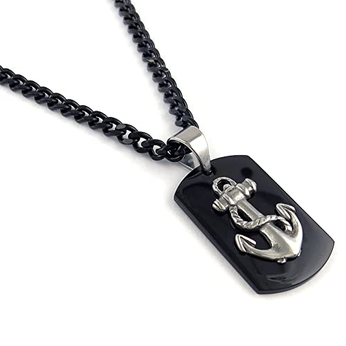Amazon.com: Para hombre cadena de acero inoxidable de negro ...