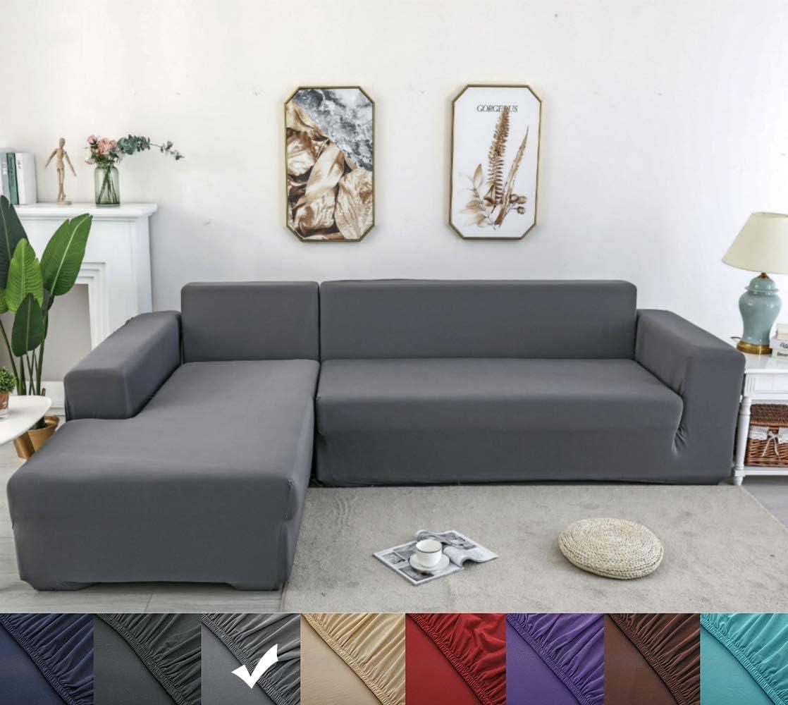 X-ZBS Funda de sofá Cubiertas para sofá elástico en Forma de L Funda de sofá (sofá de Esquina en Forma de L Debe Comprar Dos)