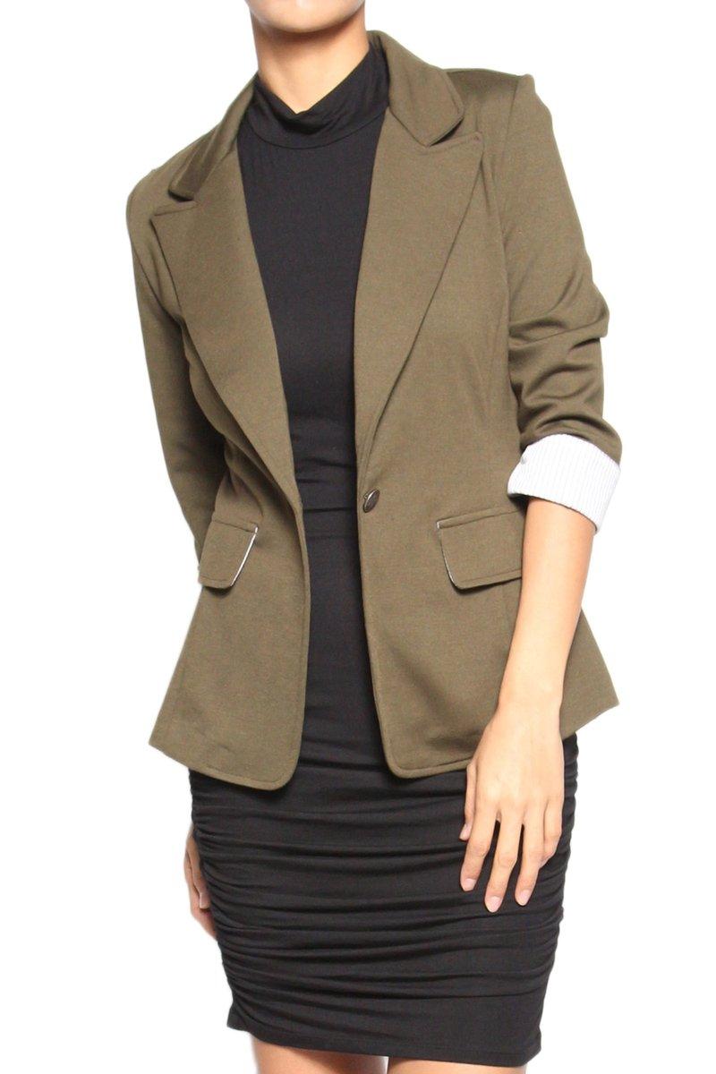TheMogan Women's S~3XL Contrast Cuffed 3/4 Sleeve Stretch Blazer Olive 3XL