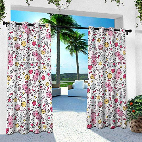 Anime, Silver Grommet Top Drape,Japanese Cartoon Pattern for Kids Nursery with Happy Bunnies Cupcakes Hearts Flowers, W108 x L108 Inch, Multicolor (Best Japanese Restaurant Soho)