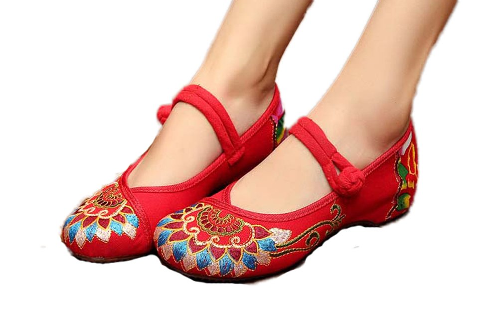AvaCostume Women's Buddhism Totem Embroidery Casual Mary Jane Shoes Red 43