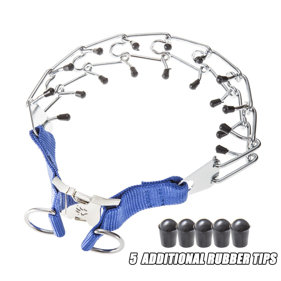 GAITY PET Dog Prong Collar Training Metal Gear Pinch For Dogs With Quick Release Snap Buckle And Rubber Tips, Blue