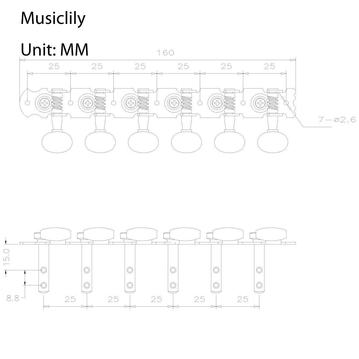 Musiclily 6 en un Plato Clavijas de Afinaci/ón Clavijero de Repuesto para Guitarra Ac/ústica//Cl/ásica N/íquel