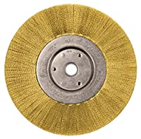 """Weiler 1415 Narrow Face Crimped Wire Wheel, 6"""", 0.05"""" Brass Fill, 5/8""""-1/2"""" Arbor Hole (Pack of 2)"""