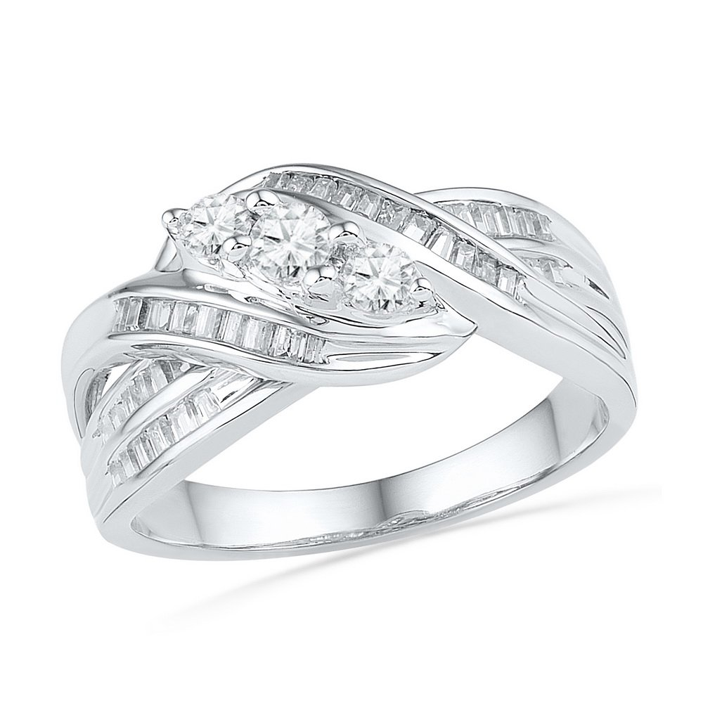 Three Stone Diamond Cocktail Ring Solid 10k White Gold Anniversary Infinity Band Polished Fancy 1/2 ctw