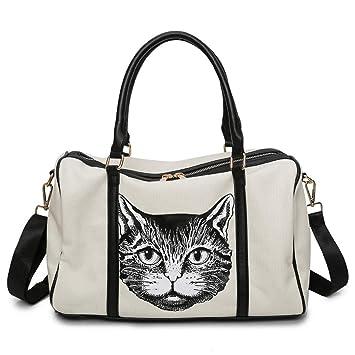 Gran Capacidad para Impresiones de Gatos para Damas H ...