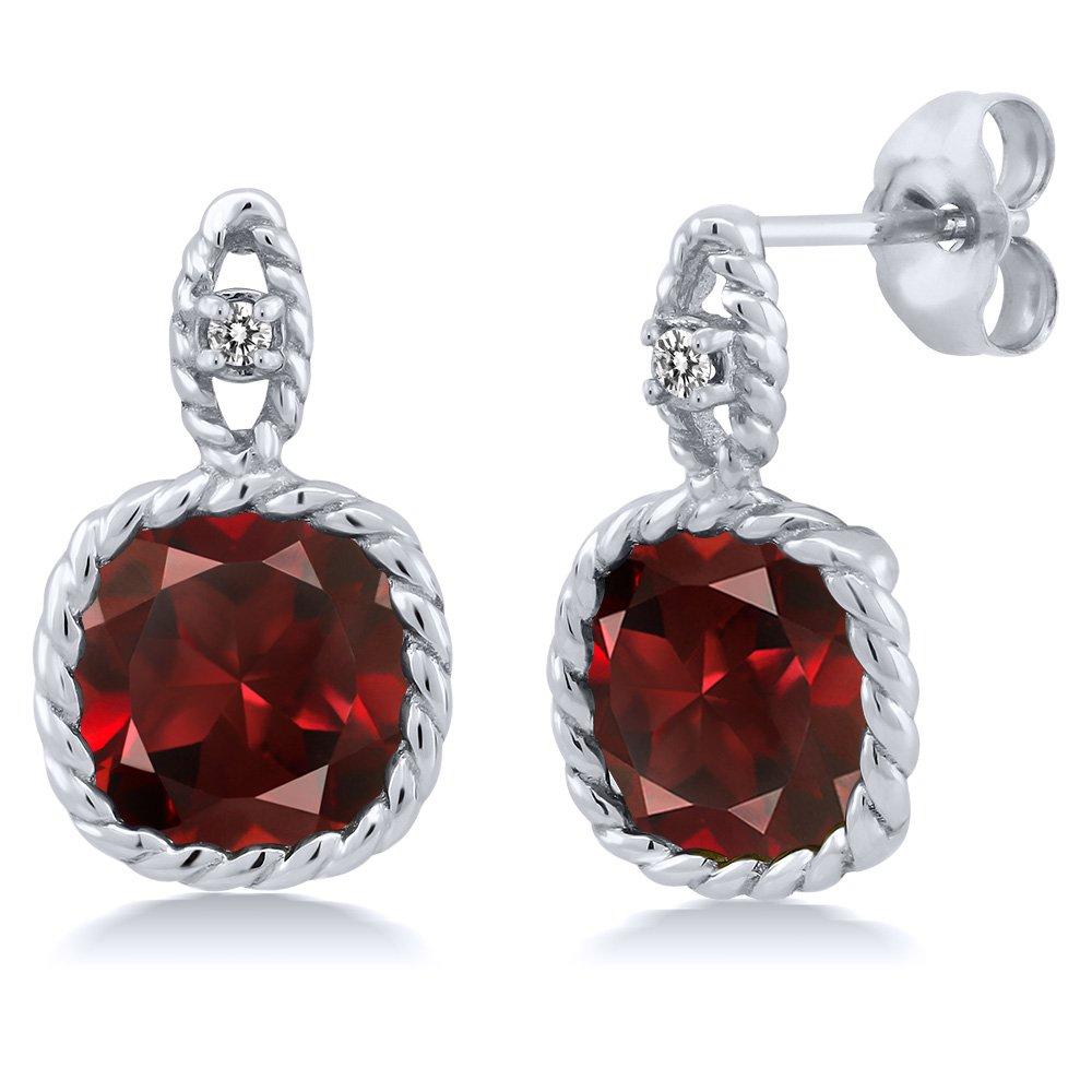 5.51 Ct Cushion Red Garnet White Diamond 10K White Gold Earrings