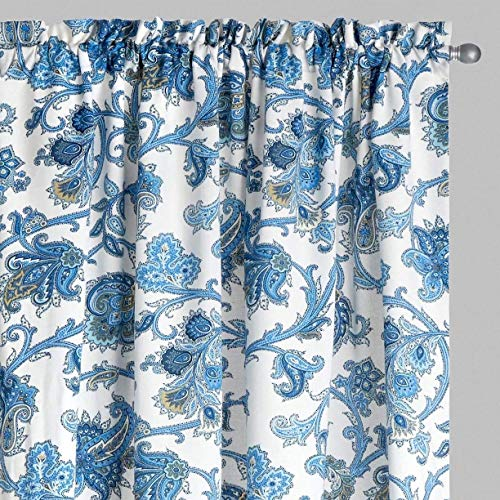 Waverly Drapery Panel - Traditions By Waverly Tennyson Aegean Porcelain Blue Floral 2-Panel Rod-Pocket Drapery Window Curtains (104