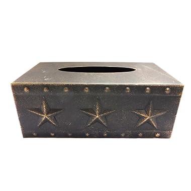Metal Star Rectangular Tissue Box, Copper Finish