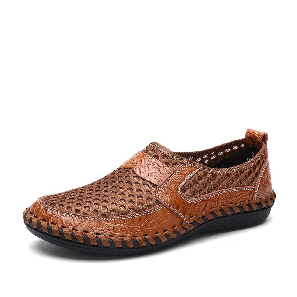 Sunny&Baby Slip de Color Sólido de Tacón Plano Mesh Loafer para Hombre en los Zapatos Antideslizante (Color : Marrón, Tamaño : 44 EU) 44 EU|Marrón