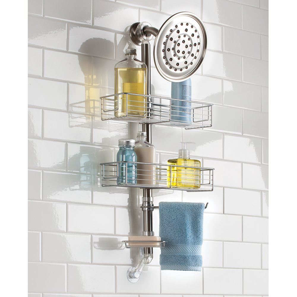 amazon com interdesign forma bathroom shower caddy station for amazon com interdesign forma bathroom shower caddy station for shampoo conditioner soap brushed stainless steel home kitchen