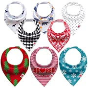 Baby Bandana Drool Bibs for Boys and Girls Perfect for Teething and Drooling Stages, 8 Pack Waterproof Extra-Absorbent Baby Bib Made of Organic Cotton Adjustable with Snaps