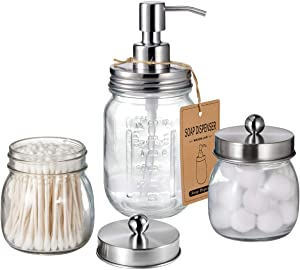 Mason Jar Bathroom Accessories Set - Includes Liquid Hand Soap Dispenser and Qtip Holder Set - Rustic Farmhouse Decor Apothecary Jars Bathroom Countertop and Vanity Organizer (Brushed Nickel)