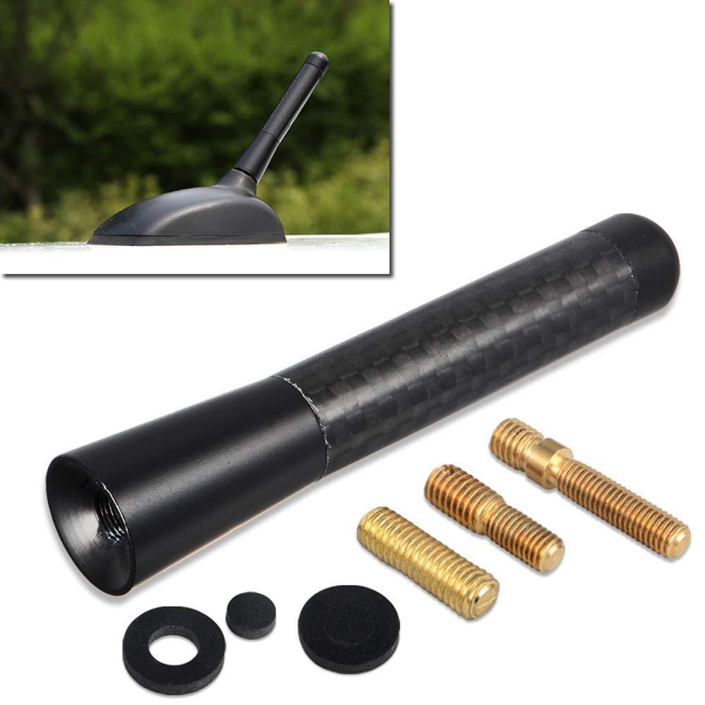 Zeagro Antena de Fibra de Carbono Real de 3 Pulgadas de Aluminio Negro Am//FM para Radio de Coche con Rosca de Repuesto de Antena