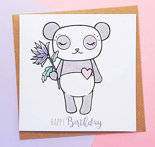 Cute Panda Birthday Card Kawaii Cards For Her